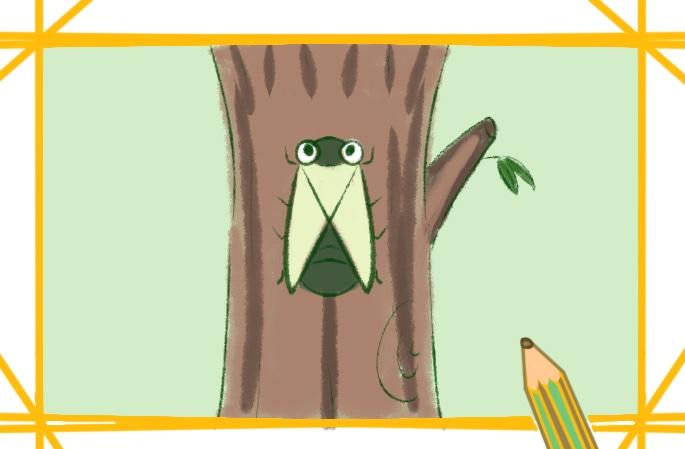 树上的蝉上色简笔画要怎么画