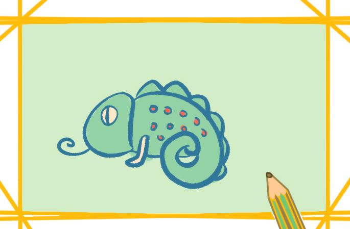 綠色的蜥蜴上色簡筆畫圖片教程步驟