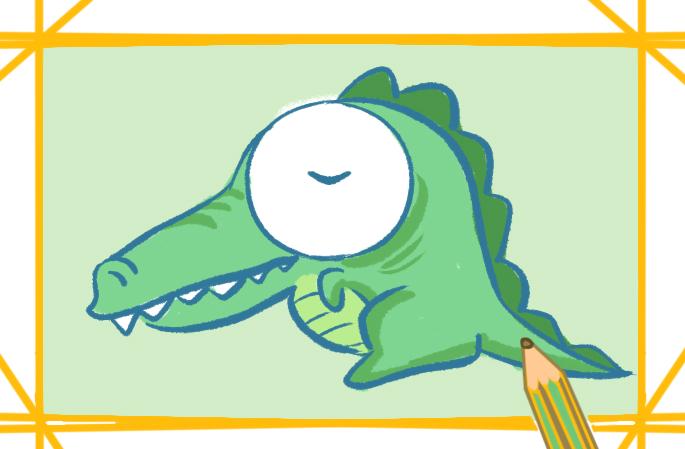 卡通鳄鱼可爱简笔画