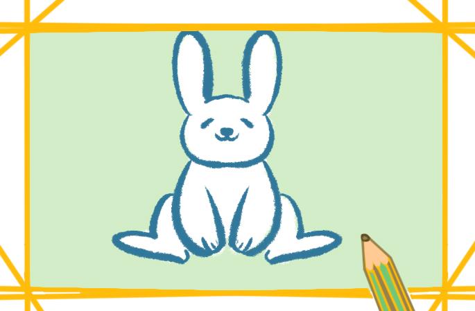 可爱的小白兔简笔画的画画步骤图片