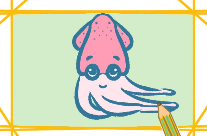 普通章魚上色簡筆畫圖片教程