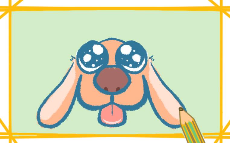 大眼睛狗狗簡筆畫帶顏色圖片怎么畫