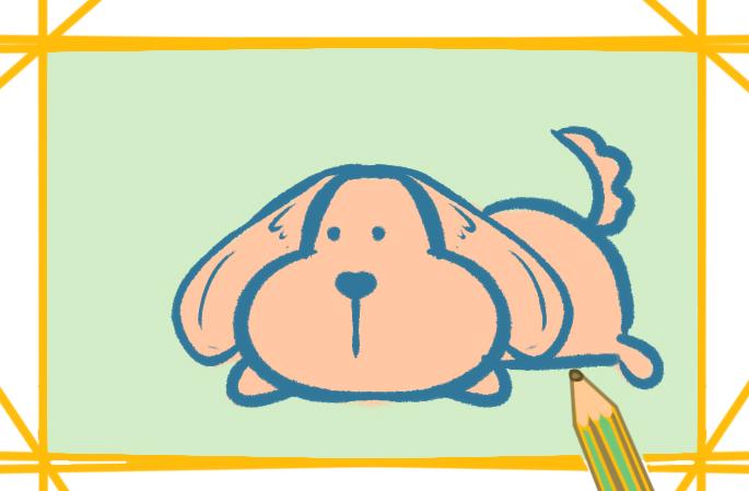 趴着的狗狗简笔画图片教程