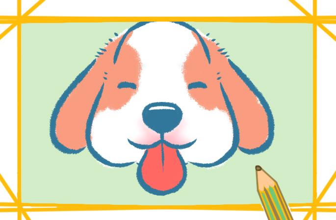 吐舌头的狗狗带颜色动物简笔画怎么画