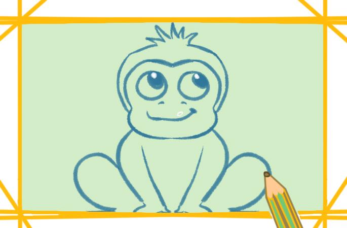 聰明的獼猴上色簡筆畫要怎么畫