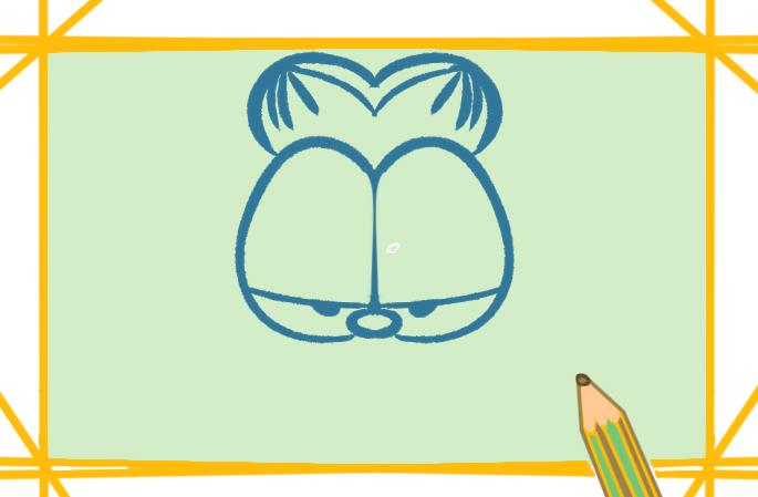 卡通之加菲猫上色简笔画图片教程