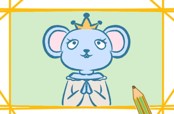 卡通可爱的老鼠上色简笔画要怎么画