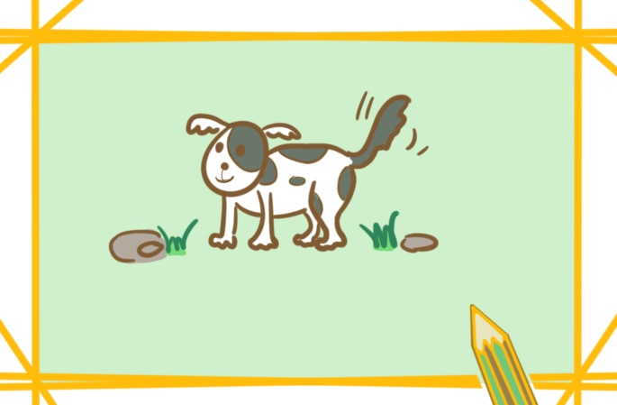 贪玩的小狗上色简笔画要怎么画