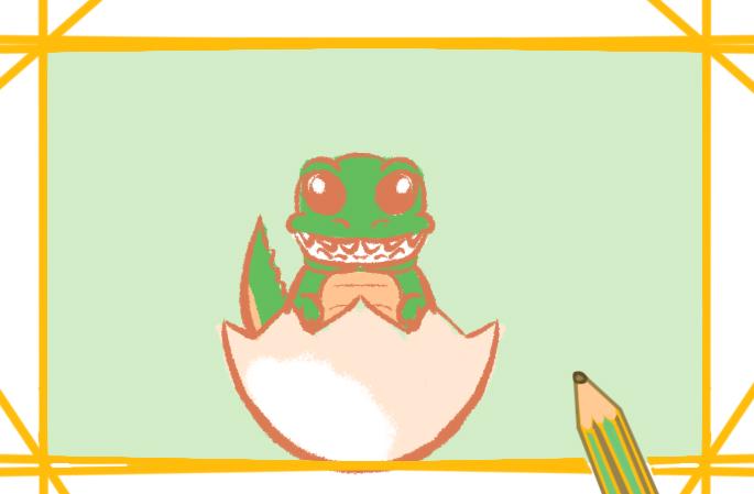 刚孵化的鳄鱼上色简笔画要怎么画