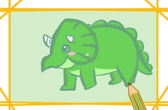 綠色三角龍上色簡筆畫要怎么畫