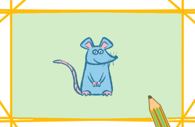 老鼠简笔画彩色儿童画怎么画