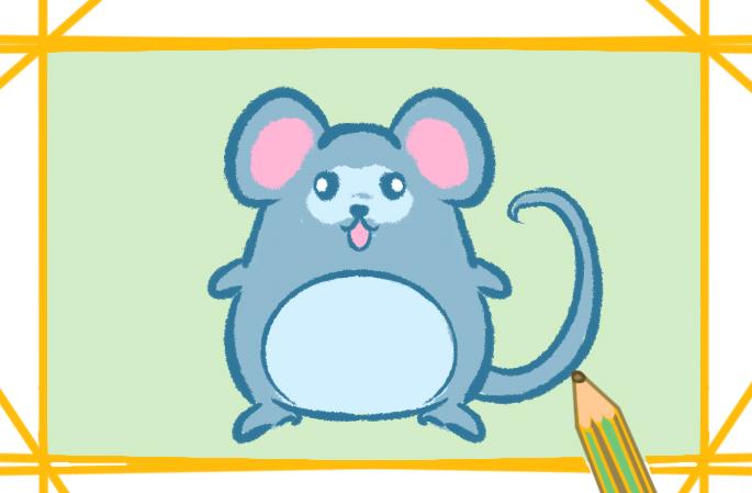 灰色的老鼠簡筆畫教程圖片