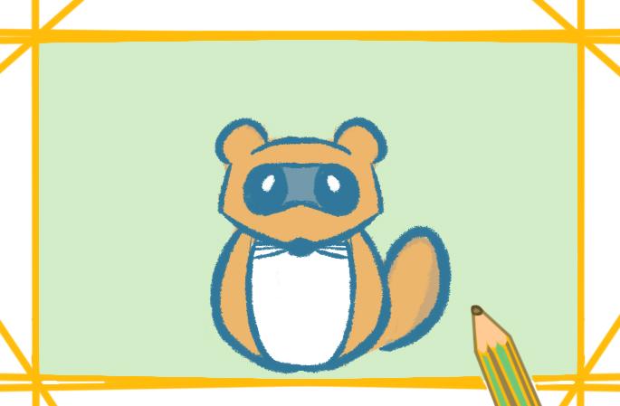 简笔画浣熊教程步骤图片简单好看