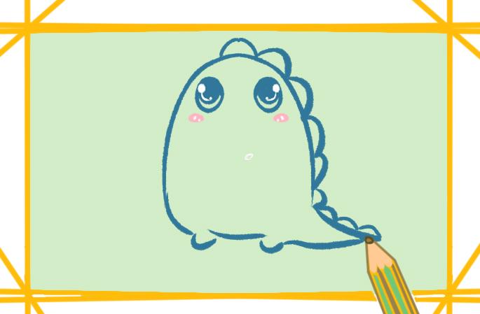 可爱的小怪兽上色简笔画图片教程