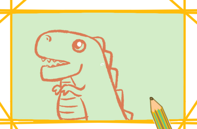 恐龙的卡通简笔画带颜色怎么画好看