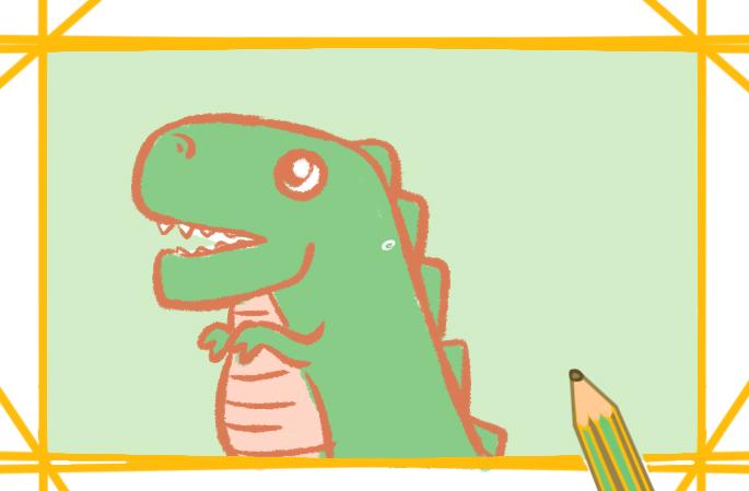 恐龍的卡通簡筆畫帶顏色怎么畫好看