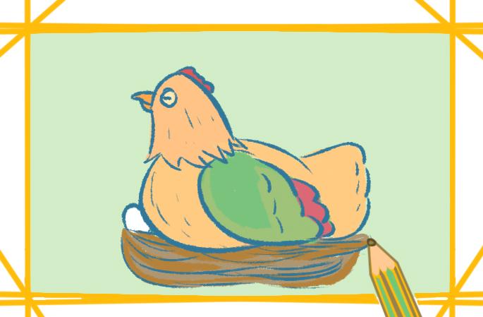 漂亮的母鸡孵蛋的图片怎么画