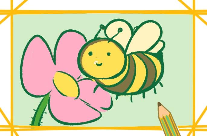 可爱的卡通蜜蜂上色简笔画要怎么画