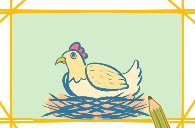 可爱的鸡上色简笔画图片教程