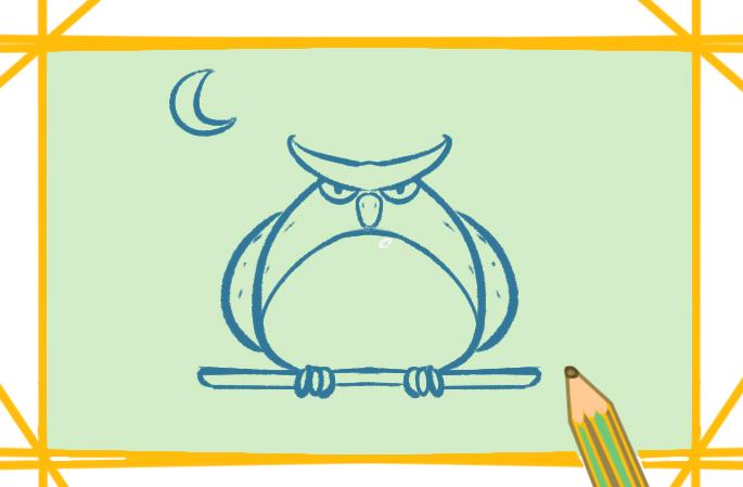卡通猫头鹰小学生简笔画图片大全教程