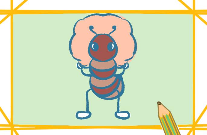 褐色蚂蚁上色简笔画要怎么画