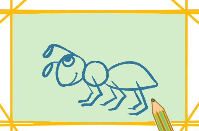灰黑色的蚂蚁简笔画图片教程