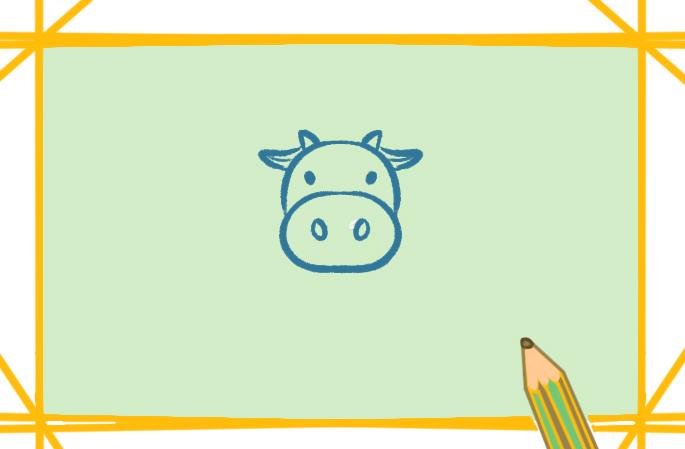 彩色的奶牛上色简笔画图片教程
