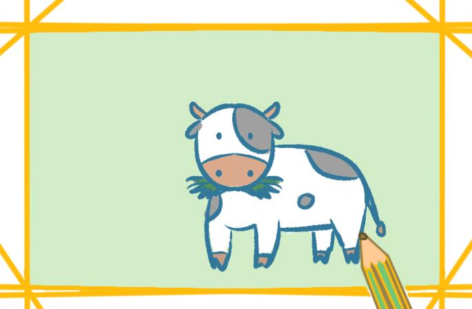 吃草的牛上色简笔画要怎么画