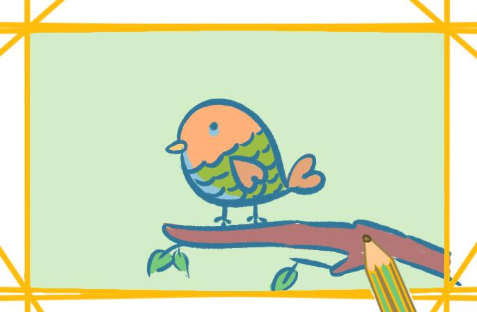 小清新的鸟上色简笔画图片教程