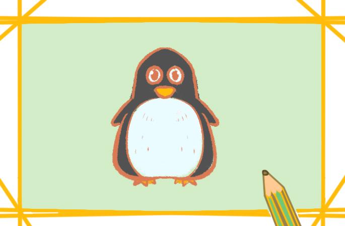 呆呆的企鹅上色简笔画要怎么画
