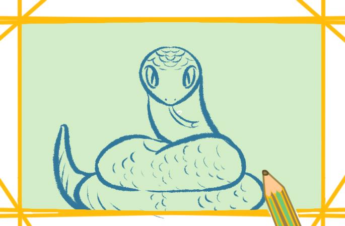 碧绿的大蛇上色简笔画要怎么画