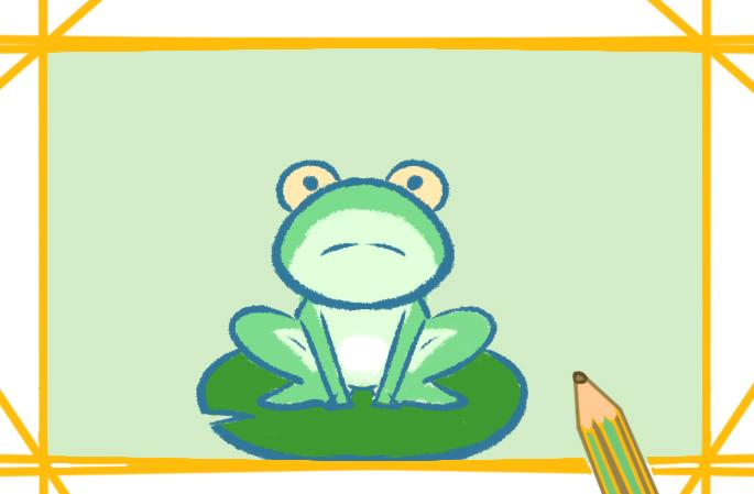 青蛙卡通简笔画带颜色儿童画怎么画