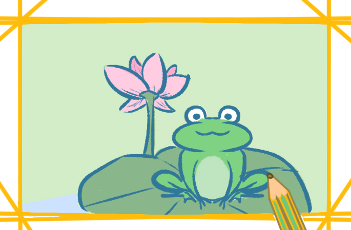 池塘的青蛙简笔画图片教程步骤