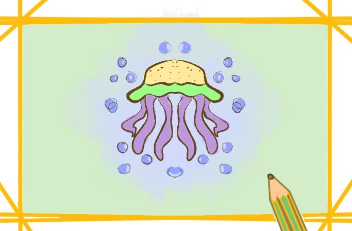 漂亮的水母上色簡筆畫要怎么畫