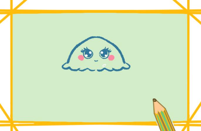 美麗的水母簡筆畫帶顏色怎么畫