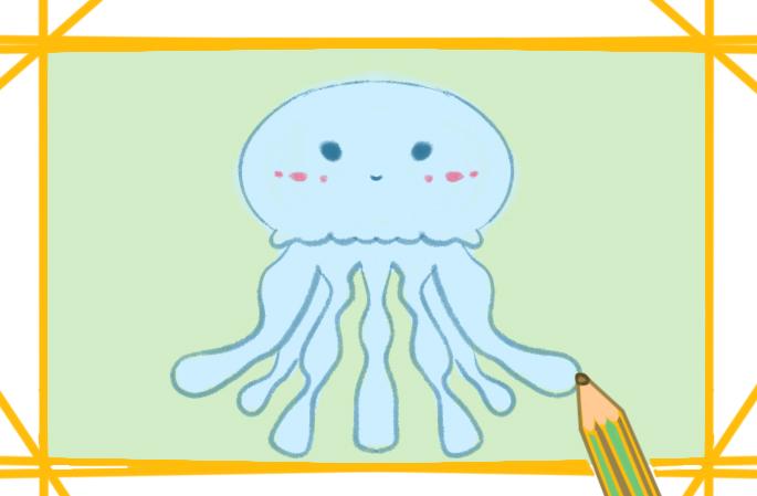 淡藍色水母上色簡筆畫要怎么畫