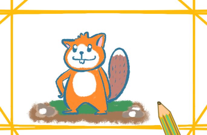 卡通小松鼠上色原创简笔画要怎么画
