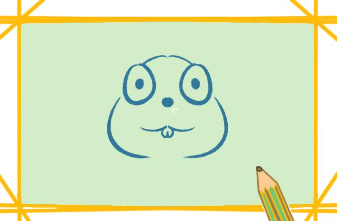 大眼睛的灰老鼠上色簡筆畫圖片教程步驟
