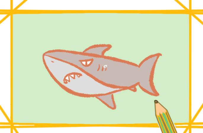 卡通鲨鱼简笔画怎么画好看简单