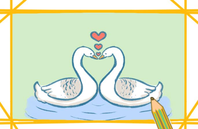 恩愛的白天鵝上色簡筆畫要怎么畫