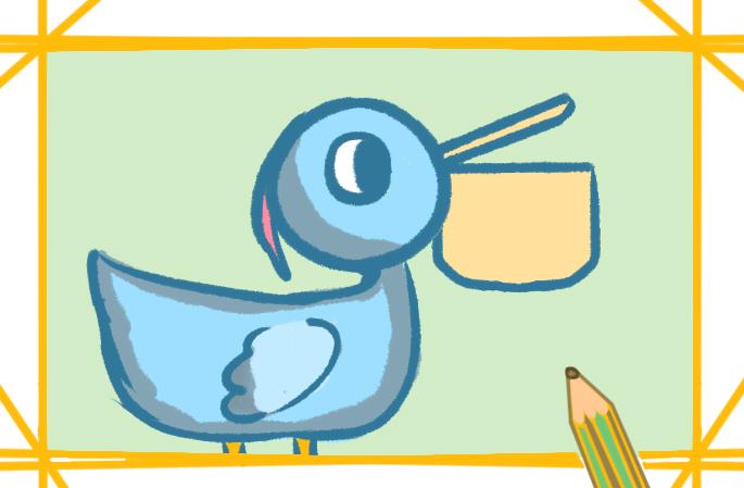 捕鱼的鹈鹕上色简笔画要怎么画