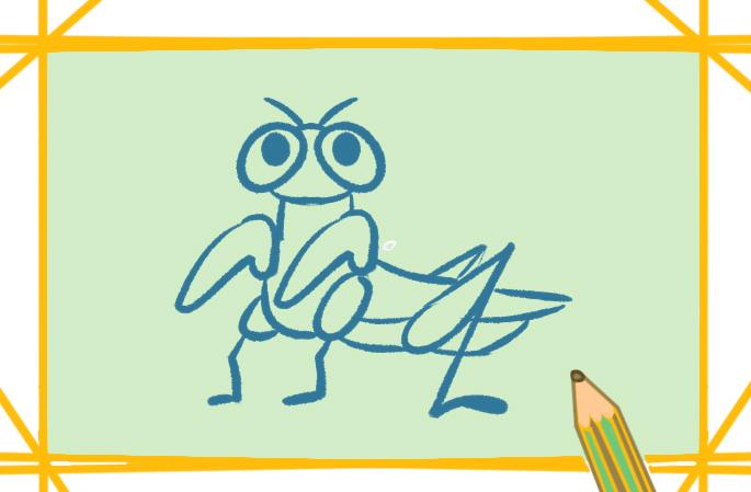 碧绿的螳螂上色简笔画要怎么画