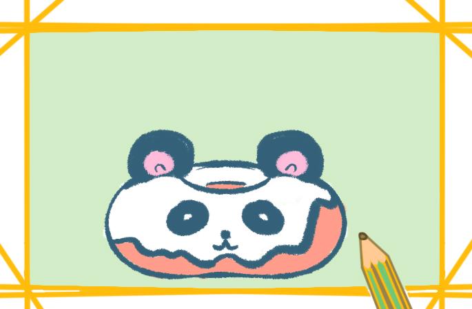 熊猫甜甜圈简笔画图片怎么画