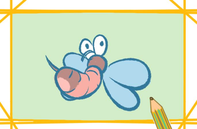 蚊子卡通简笔画带颜色的图片怎么画