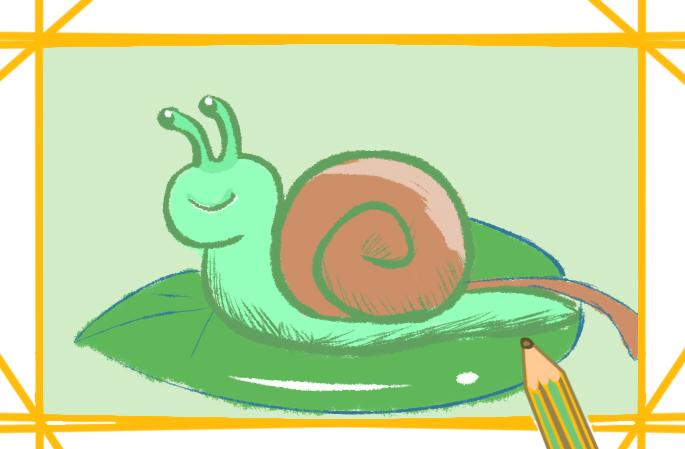 蜗牛简笔画带颜色教程步骤图