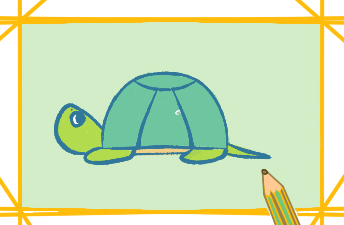 绿色大乌龟上色简笔画要怎么画