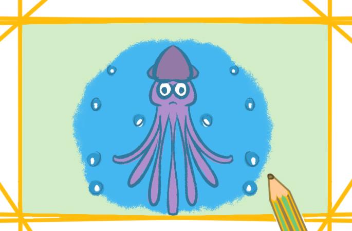 深海的大章鱼上色简笔画要怎么画