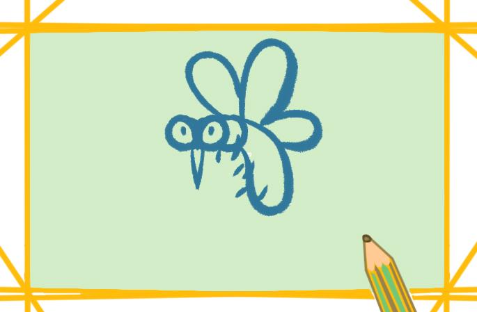 害虫之大蚊子上色简笔画图片教程