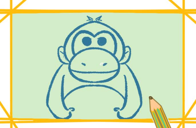 超簡單的猩猩簡筆畫帶顏色怎么畫