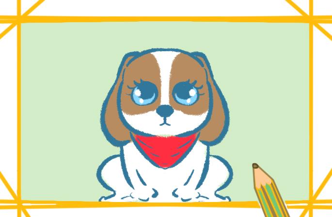 漂亮的比格犬带颜色怎么画